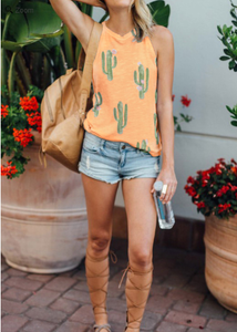 Cactus Printed Sleeveless Tank, Sunkiss Orange
