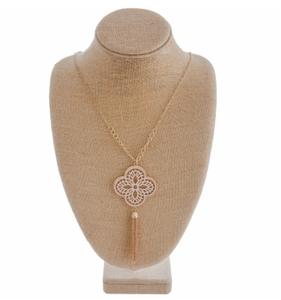 Chic Long Pendant Tassel Necklace, Rose Gold