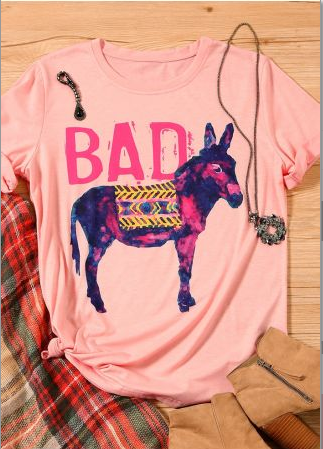 Bad Ass Donkey T-Shirt Tee, Pink