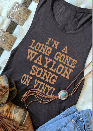 I'm A Long Gone Waylon Song On Vinyl Tank - Grey
