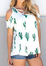 Cactus Criss-Cross Cold Shoulder Blouse, White