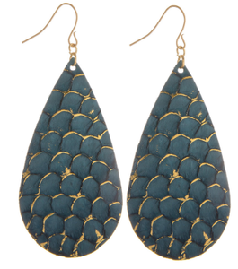Chic Mermaid Scale Leather Drop Earrings, Blue