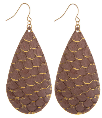 Chic Mermaid Scale Leather Drop Earrings, Lavender