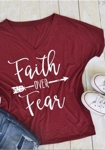 Faith Over Fear Arrow T-Shirt, Burgundy