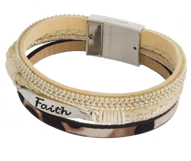 Chic FAITH Cheetah Print Stackable Leather Bracelet, Ivory