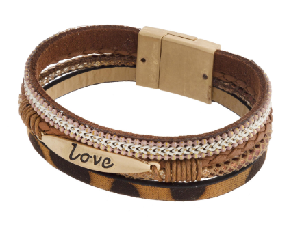 Chic LOVE Cheetah Print Stackable Leather Bracelet