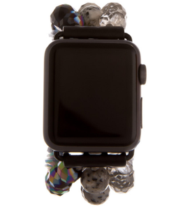 Chic Beaded Watch Band For Apple Watch, MoonLight Black