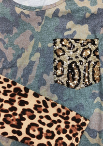 Leopard Camouflage Printed Sequined Blouse