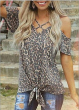 Leopard Printed Cold Shoulder Blouse