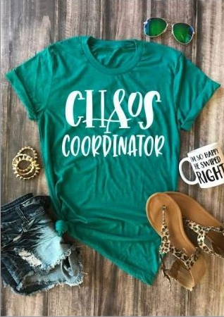 Chaos Coordinator O-Neck Short Sleeve T-Shirt, Green