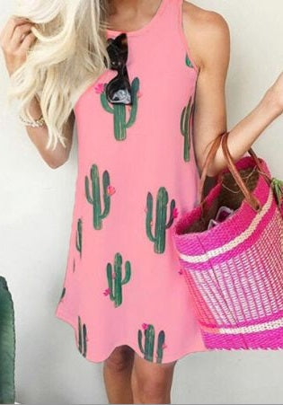 Cactus Printed Sleeveless Mini Dress, Pink