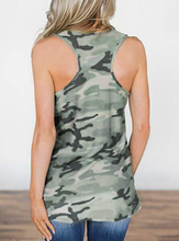 Camouflage Printed American Flag Tank, Olive