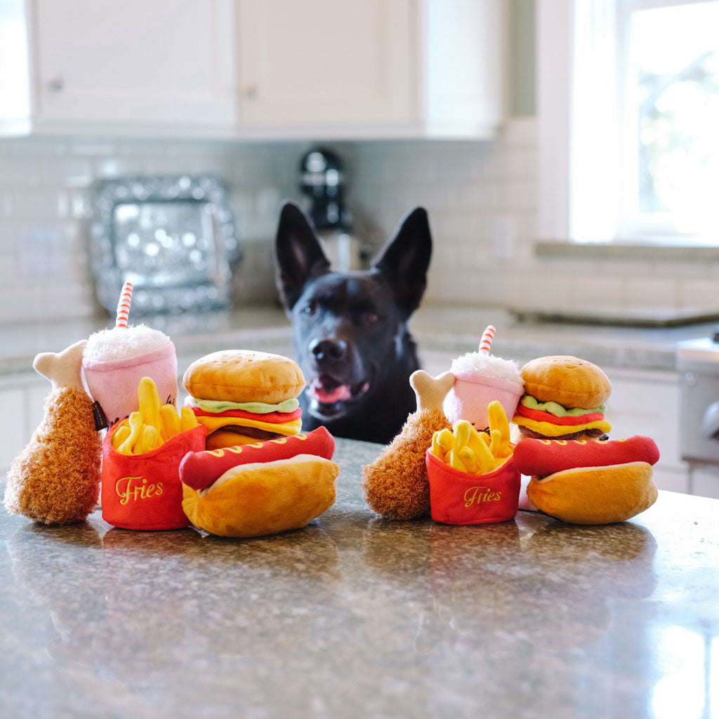 Chopper & Otis: pet P.L.A.Y: American Classic Fast Food Dog Plush Toys