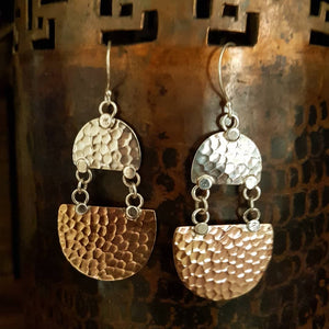 Copper/Silver Earrings - Mayalu