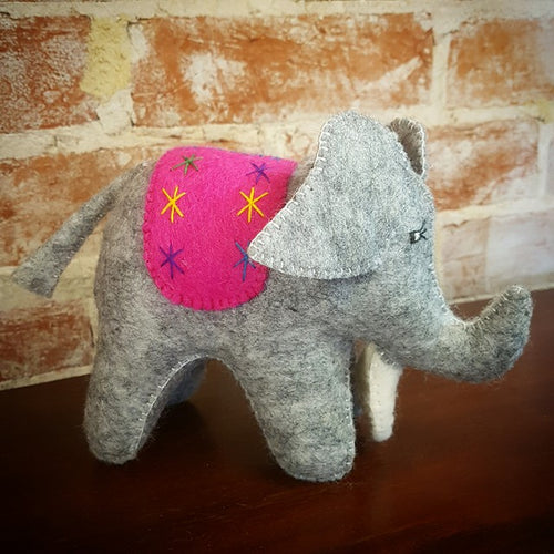 Pure Wool Felt Elephant - Grey