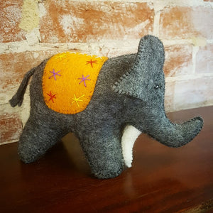 Pure Wool Felt Elephant - Dark Grey