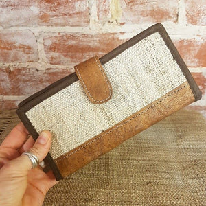 Leather & Weave Wallet - Hemp