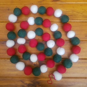 Xmas Ball Garland ~Pure Wool Felt