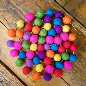 Felt Ball Garland ~ Rainbow