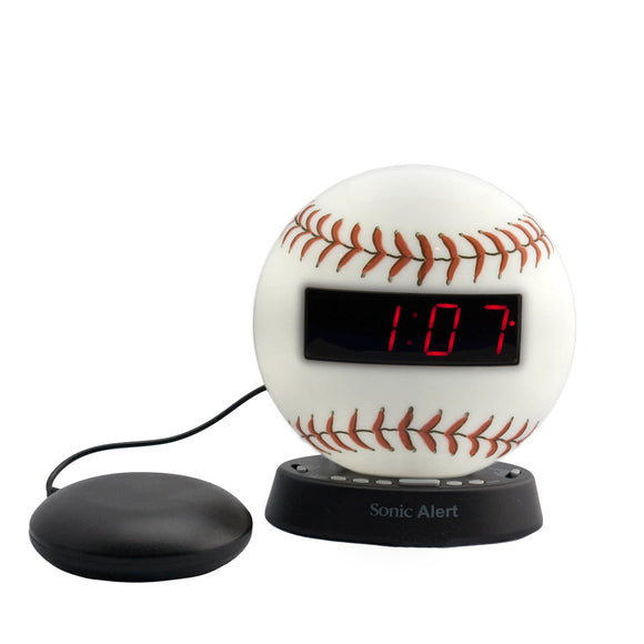 Sonic Glow Baseball Alarm Clock with Recordable Alarm and Optional Bed Shaker - harc.com