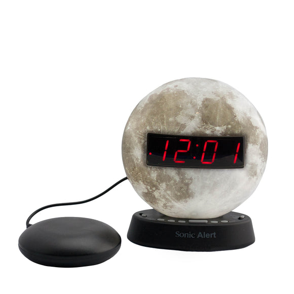 Sonic Glow Moon Alarm Clock with Recordable Alarm and Optional Bed Shaker - harc.com