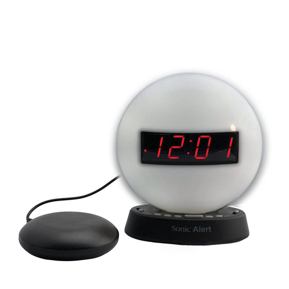 Sonic Glow Night Light Alarm Clock with Recordable Alarm and Optional Bed Shaker - harc.com