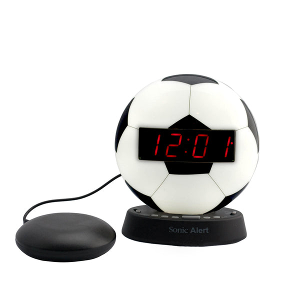 Sonic Glow Soccer Ball Alarm Clock with Recordable Alarm and Optional Bed Shaker - harc.com