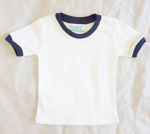 White T-Shirt with Navy Blue Trim