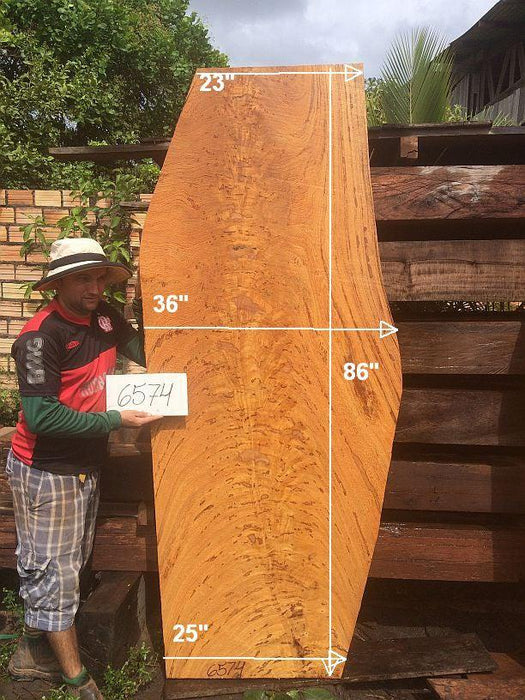 "Angelim Pedra #6574- 3-1/2"" x 23"" to 36"" x 86"" FREE SHIPPING within the Contiguous US. - Big Wood Slabs"