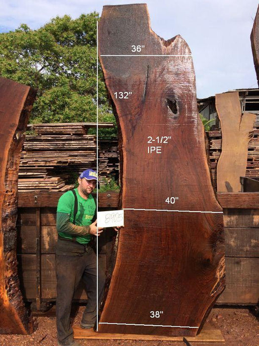 Ipe / Brazilian Walnut #8905- 2-1/2″ x 36″ to 38″ x 132″ FREE SHIPPING within the Contiguous US. - Big Wood Slabs