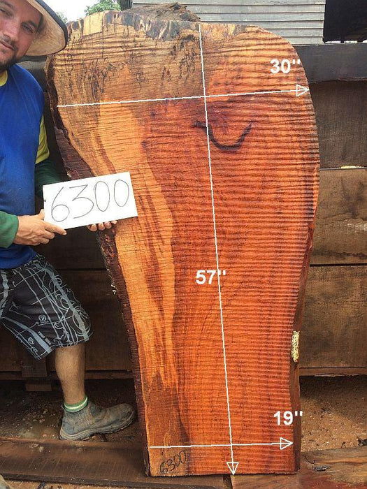 "Jatoba / Brazilian Cherry #6300- 2-1/2"" x 19"" to 30"" x 57"" FREE SHIPPING within the Contiguous US. - Big Wood Slabs"