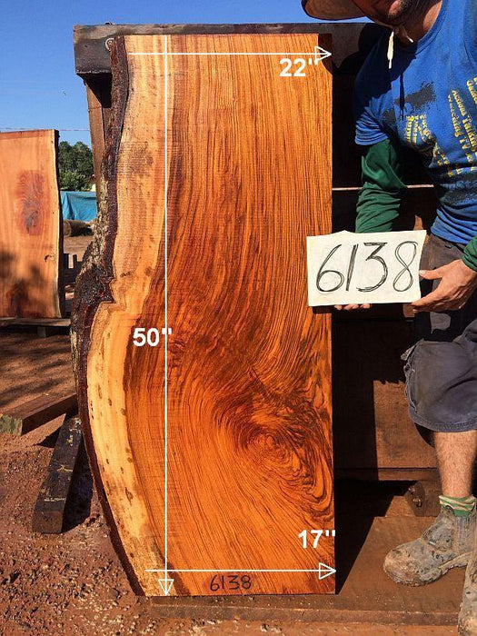 "Jatoba / Brazilian Cherry - 3-1/2"" x 17"" to 22"" x 50"" - Big Wood Slabs"