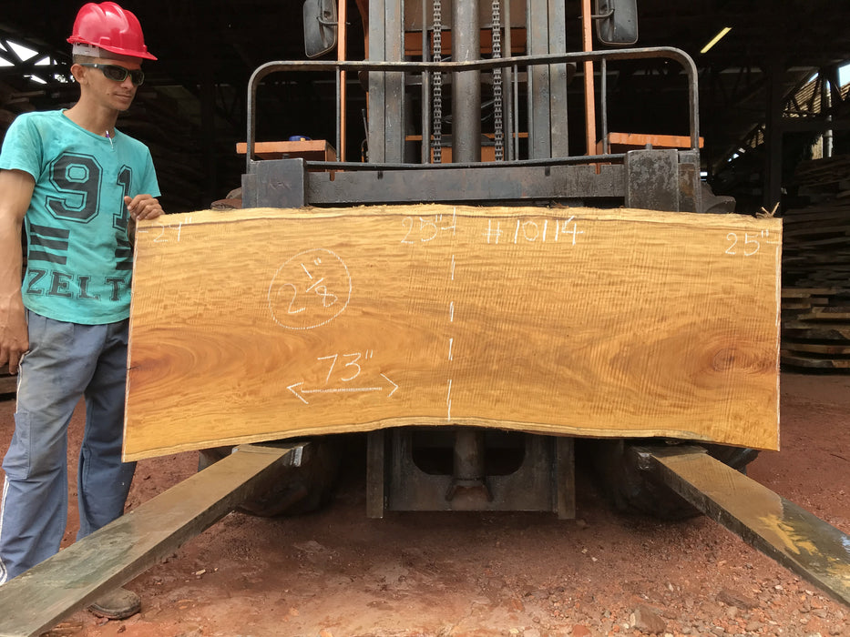 "Garapa, #10114 - 2-1/8"" x 25"" x 29"" x 73"" FREE SHIPPING within the Contiguous US. - Big Wood Slabs"
