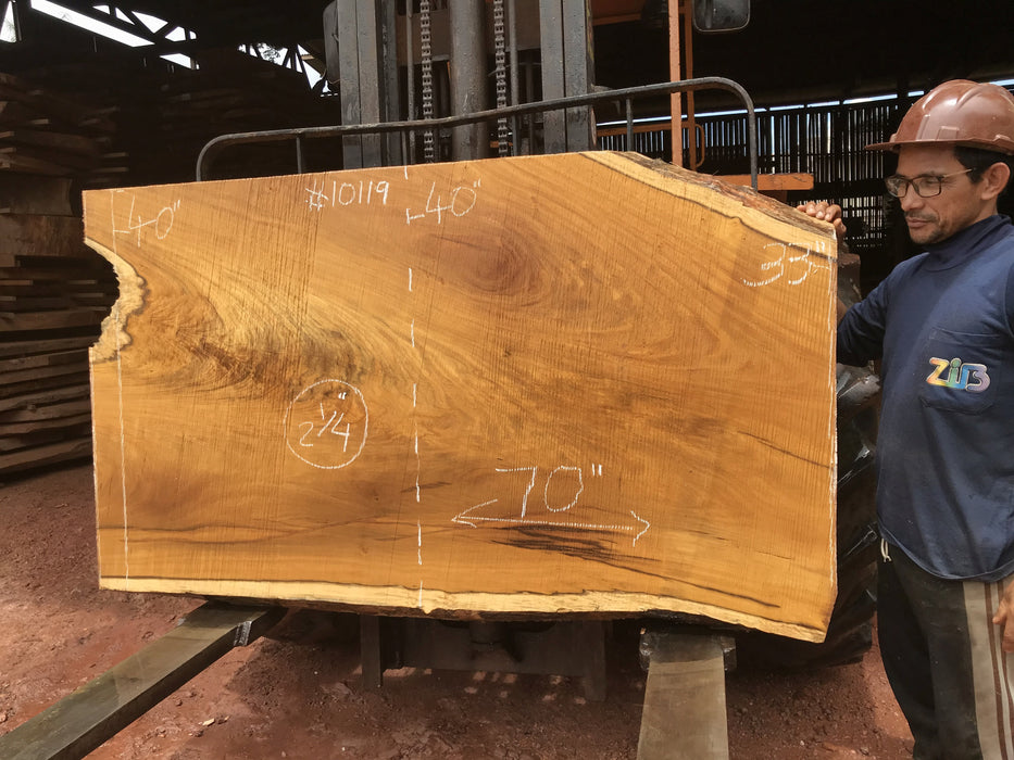 "Garapa, #10119 - 2-1/4"" x 33"" to 40"" x  70"" FREE SHIPPING within the Contiguous US. - Big Wood Slabs"