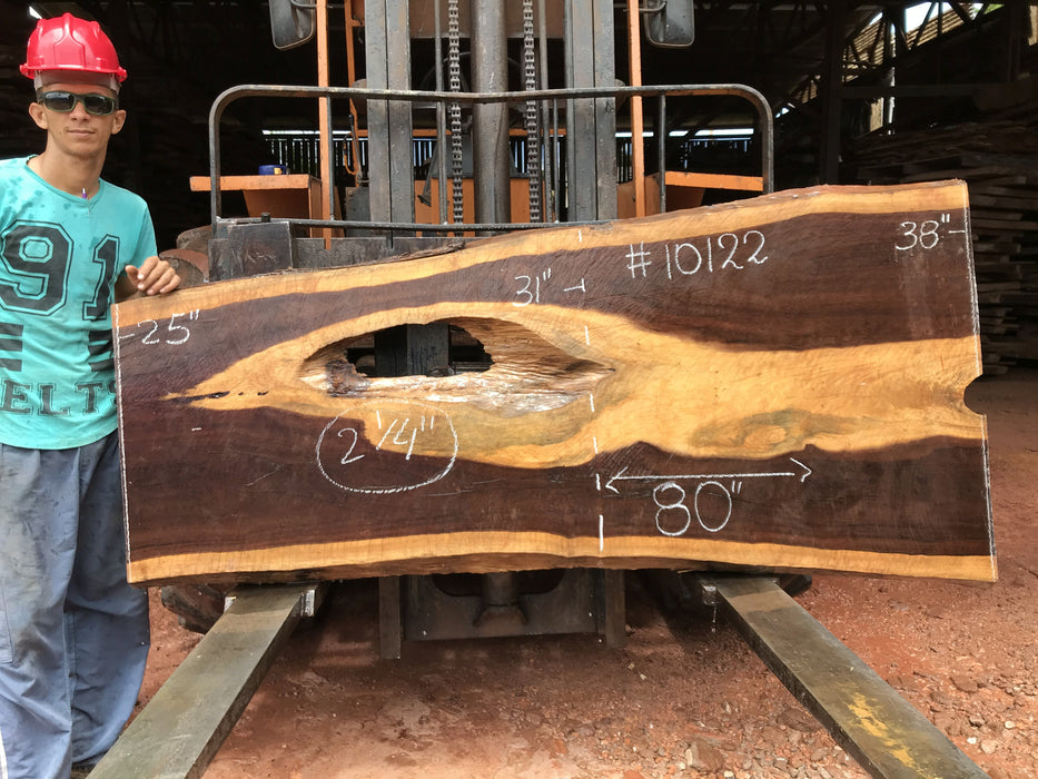 "Brazilian Ebony/Gombeira #10122 - 2-1/4"" x 25"" to 38"" x 80"" FREE SHIPPING within the Contiguous US. - Big Wood Slabs"