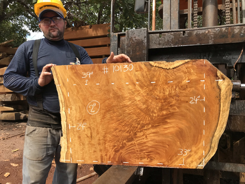 "Garapa, #10130 - 2"" x  24""  x  33""  to 39"" FREE SHIPPING within the Contiguous US. - Big Wood Slabs"