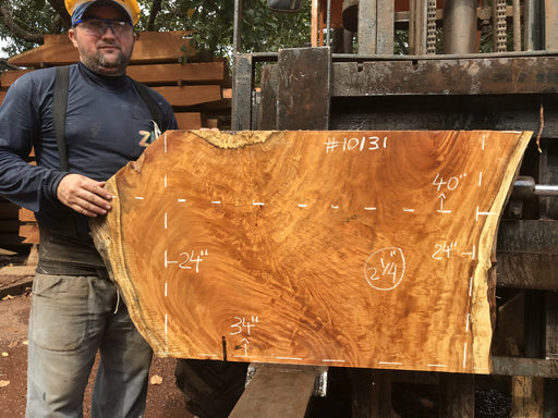 "Garapa, #10131 - 2-1/4"" x  24""  x  34""  to 40"" FREE SHIPPING within the Contiguous US. - Big Wood Slabs"