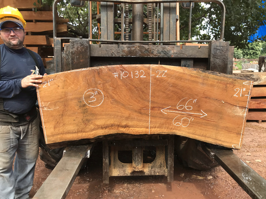 "Cumaru / Brazilian Teak #10132 - 3"" X 21"" to 22"" X 60"" to 66"" FREE SHIPPING within the Contiguous US. - Big Wood Slabs"
