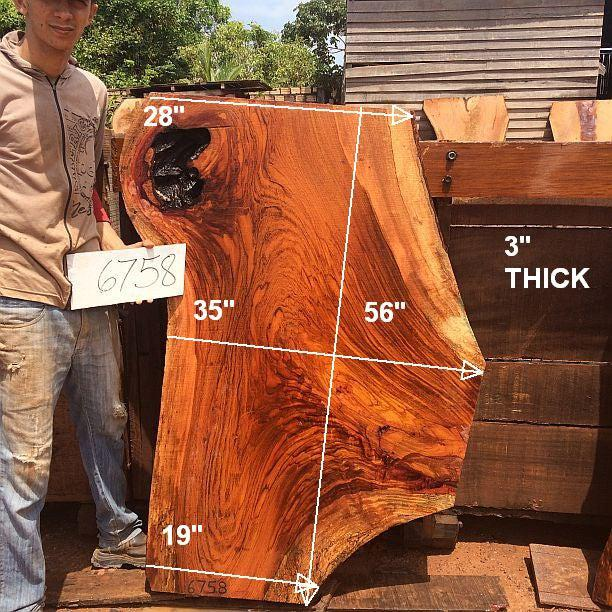 "Jatoba / Brazilian Cherry #6758- 3"" x 19"" to 35"" x 56"" FREE SHIPPING within the Contiguous US. - Big Wood Slabs"