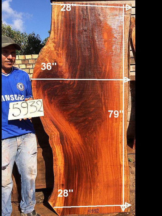 "Jatoba / Brazilian Cherry #5932- 2-1/2"" x 28"" to 36"" x 79"" FREE SHIPPING within the Contiguous US. - Big Wood Slabs"