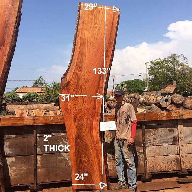 "Jatoba / Brazilian Cherry #6761- 2"" x 24"" to 31"" x 133"" FREE SHIPPING within the Contiguous US. - Big Wood Slabs"