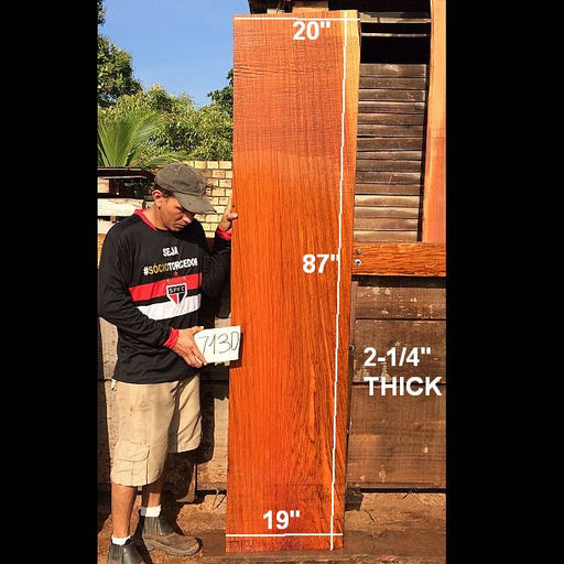 "Jatoba / Brazilian Cherry #7130- 2-1/4"" x 19"" to 20"" x 87"" FREE SHIPPING within the Contiguous US. - Big Wood Slabs"