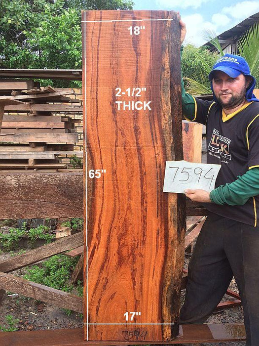 "Angelim Pedra #7594 - 2-1/2"" x 17"" to 18"" x 65"" FREE SHIPPING within the Contiguous US. - Big Wood Slabs"