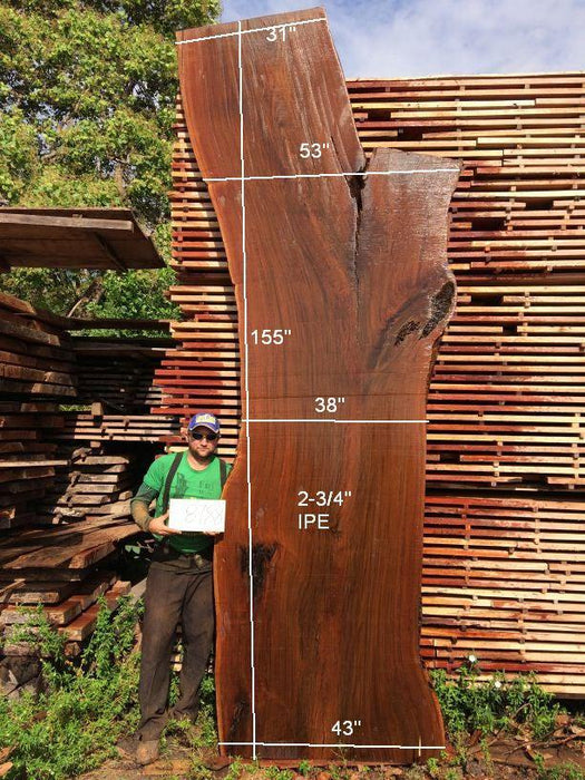 Ipe / Brazilian Walnut #8788- 2-3/4″ x 31″ to 53″ x 155″ FREE SHIPPING within the Contiguous US. - Big Wood Slabs