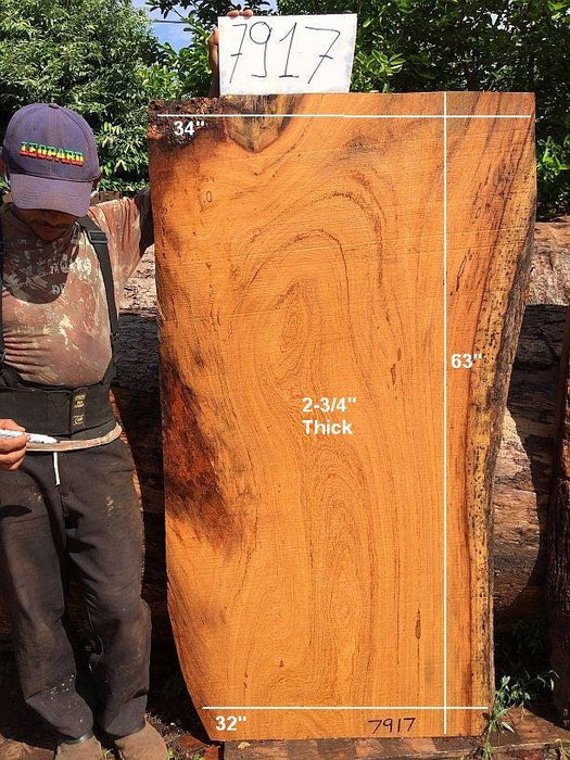 "Angelim Pedra #7917- 2-3/4"" x 32"" to 34"" x 63"" FREE SHIPPING within the Contiguous US. - Big Wood Slabs"