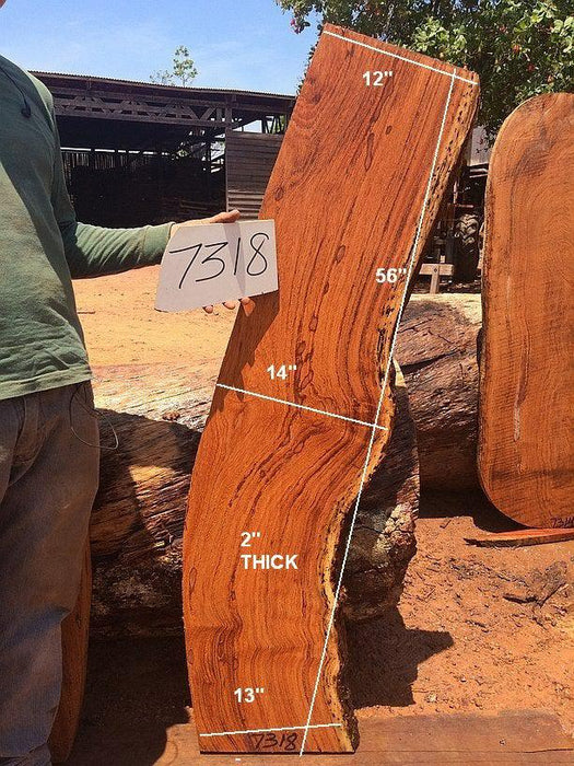 "Angelim Pedra #7318 - 2"" X 12"" - 14"" X 56"" - Big Wood Slabs"