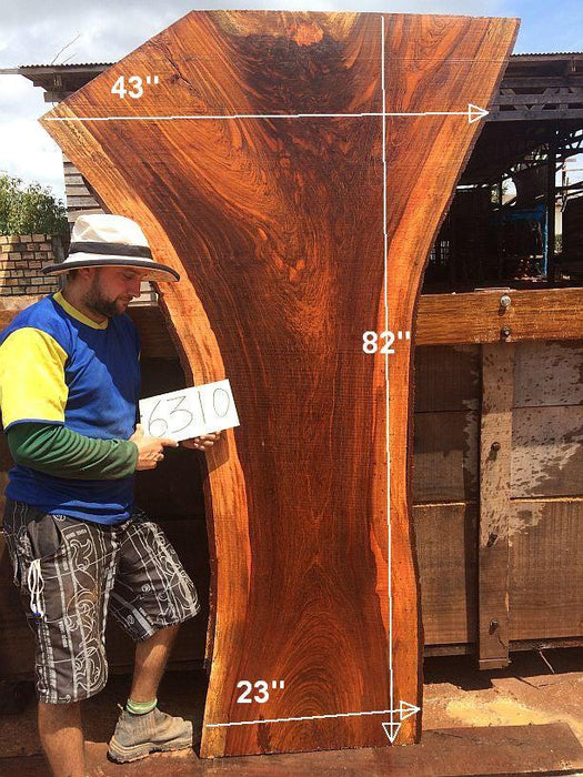 "Jatoba / Brazilian Cherry #6310- 2-1/2"" x 23"" to 43"" x 82"" FREE SHIPPING within the Contiguous US. - Big Wood Slabs"