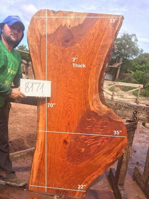 "Jatoba / Brazilian Cherry #8171- 2"" x 22"" to 35"" x 70"" FREE SHIPPING within the Contiguous US. - Big Wood Slabs"