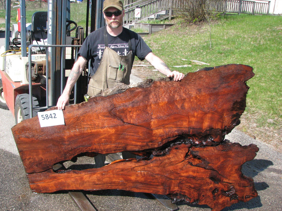 "Redwood  #5842- 3-1/4"" x 24"" to 48"" x 80"" FREE SHIPPING within the Contiguous US. - Big Wood Slabs"