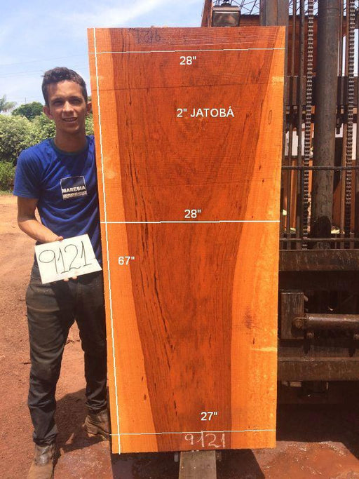 Jatoba / Brazilian Cherry #9121 – 2″ x 27″ to 28″ x 67″ FREE SHIPPING within the Contiguous US. - Big Wood Slabs